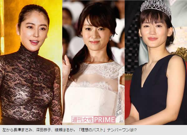 長沢まさみ、深田恭子、綾瀬はるか、理想のバストナンバーワンは?